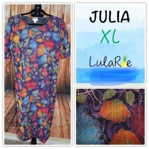 LuLaRoe Julia Dress XL Floral Multicolor Tulip